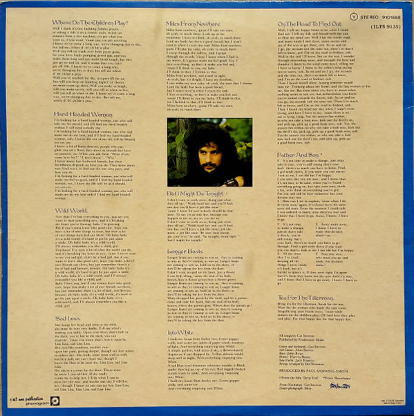 Cat Stevens - Tea For The Tillerman, back cover