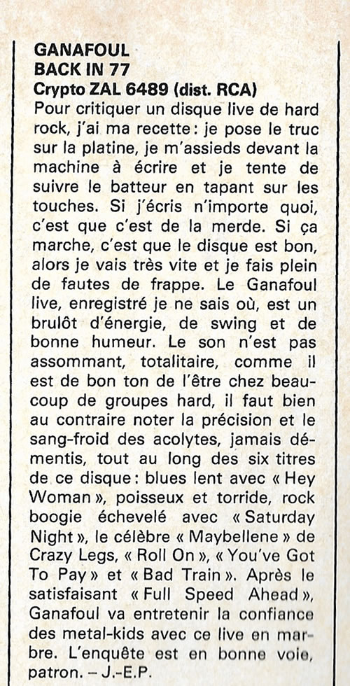 Ganafoul dans Rock And Folk