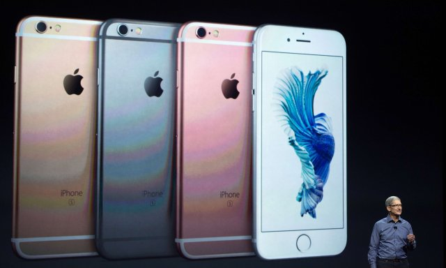 Apple CEO Tim Cook introduces the iPhone 6S last year.