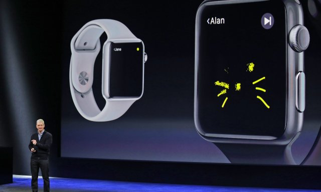 Cook speaks about the Apple Watch at the Apple headquarters earlier this year in Cupertino, California.