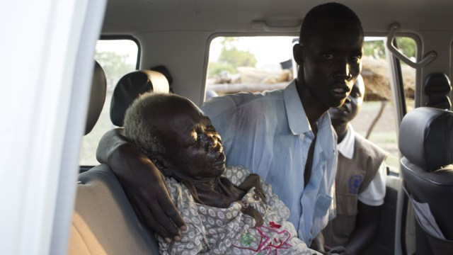 Abang Akok was taken to hospital in the back of a WFP vehicle