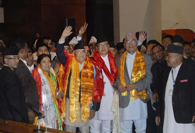File – After his election as the Prime Minister, KP Sharma Oli poses for a photograph with gus CPN-UML's senior leaders at the Legislature-Parliament building in New Baneshwor on Sunday, October 11, 2015
