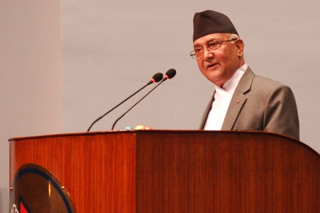 Prime Minister KP Sharma Oli answers the no-confidence motion filed against him and announces the resignation, at the Parliament meeting, on Sunday, July 24, 2016.