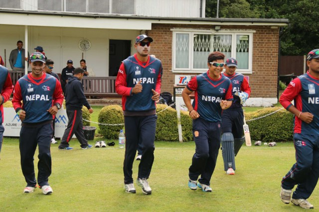 Nepali players take to field during the first innings of the match against the club Cricket Conference on Friday July15, 2016. Photo: Raman Siwakoti