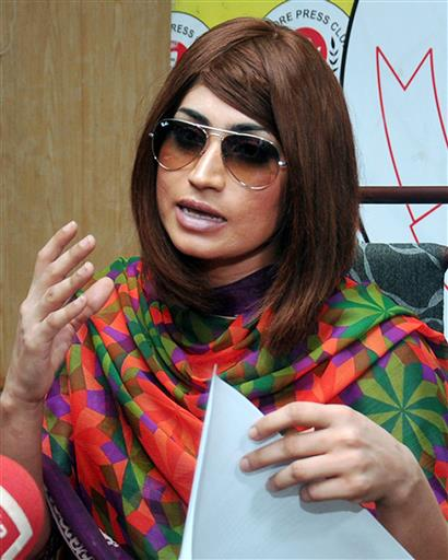 In this picture taken on June 28, 2016, Pakistani fashion model Qandeel Baloch speaks during a press conference in Lahore, Pakistan. Baloch, who recently stirred controversy by posting pictures of herself with a Muslim cleric on social media, was strangled to death by her brother, police said Saturday, July 16, 2016.