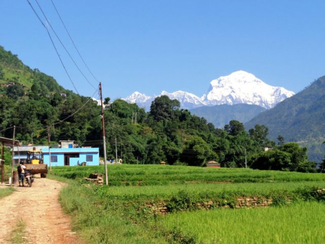 A picturesque view of Mt. Dhaulagiri as seen from Ratnachaur village of Beni in Myagdi, on Sunday, August 21, 2016. Photo: RSS.