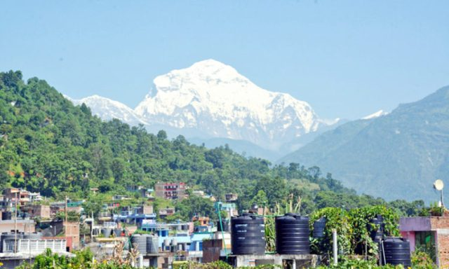 A prestine view of Dhaulagiri Mountian range as captured from Baglung Bazaar, on Monday, August 22, 2016. Photo: RSS
