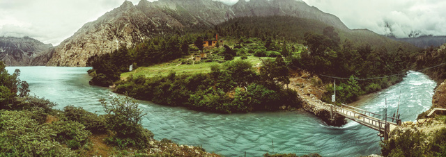 The outlet of Phoksundo Lake, which was blocked by a gigantic landslide 40,000 years ago.