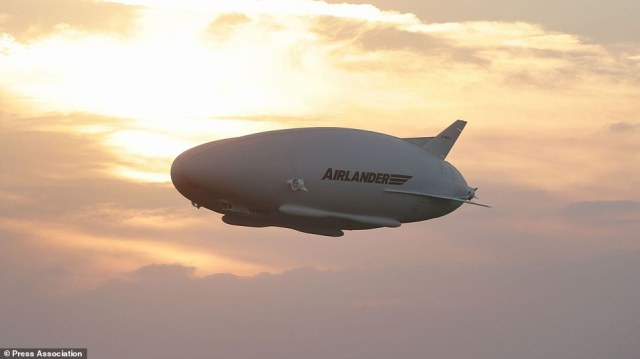 The Airlander 10, the largest aircraft in the world, during its maiden flight at Cardington airfield in Bedfordshire.