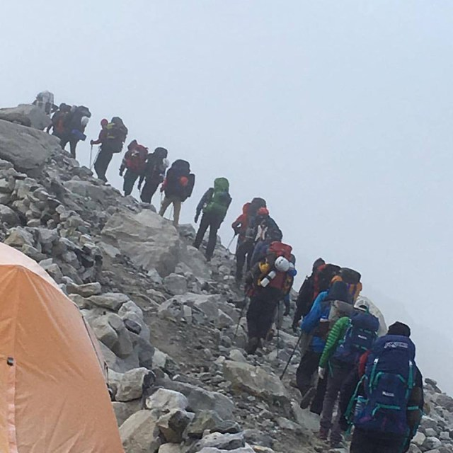Climbers head to the Camp I from the Mt Cho Oyu Base Camp, in September 2016.