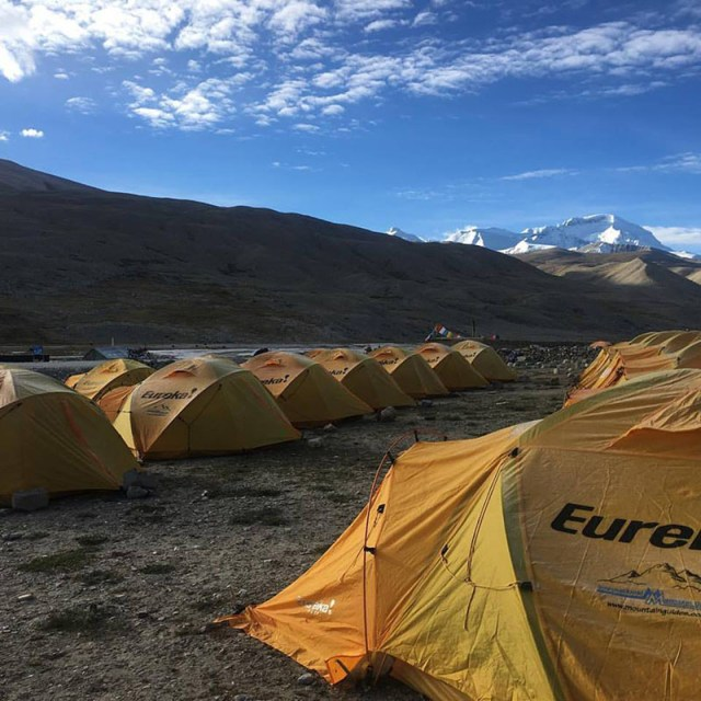 A view of the Mt Cho Oyu base camp in September 2016.