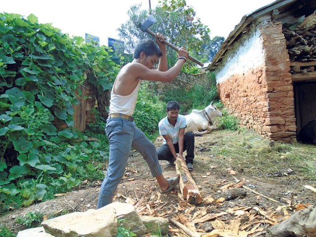Prakash BK chops logs in front of his home. (Nirmala)
