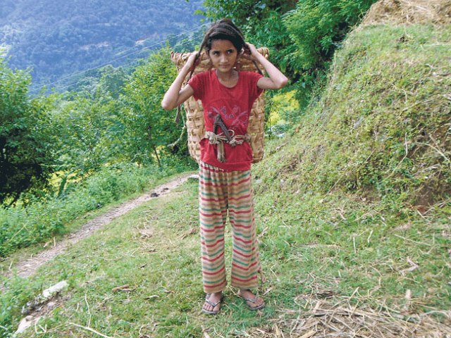 Fourth grader Asmita cuts and carries grass to help her mother during her holidays. (Anita)