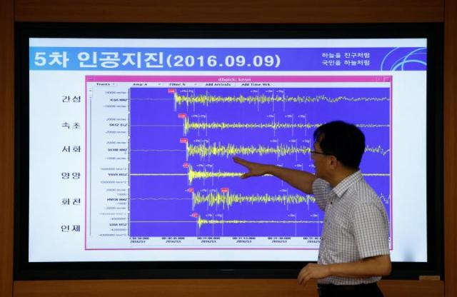 Ryoo Yong-gyu, Earthquake and Volcano Monitoring Division Director, points at a chart showing seismic waves observed in South Korea, during a media briefing at Korea Meteorological Administration in Seoul, South Korea, September 9, 2016.   REUTERS/Kim Hong-Ji