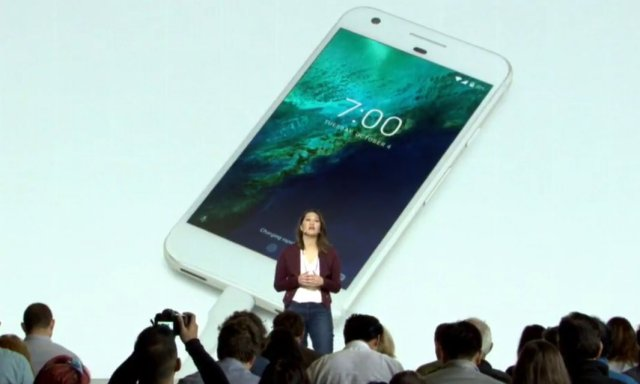 Sabrina Ellis speaks about the Pixel's quick charging - 7hrs in 15mins - at the Google launch event Photograph: Google