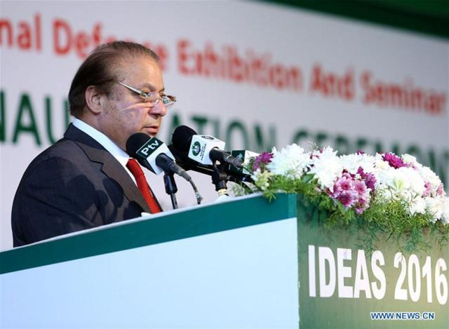 Photo released by Pakistan's Press Information Department (PID) on Nov. 22, 2016 shows Pakistani Prime Minister Nawaz Sharif addressing the inauguration ceremony of the 9th International Defense Exhibition and Seminar 2016 (IDEAS-2016) in Pakistan's southern port city of Karachi. IDEAS-2016 commenced at Karachi Expo Center on Tuesday.