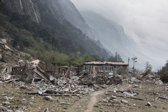 Ghodatabela, once a thriving village and a popular stopover on the trek up the Langtang valley, is still strewn with wreckage from the earthquake