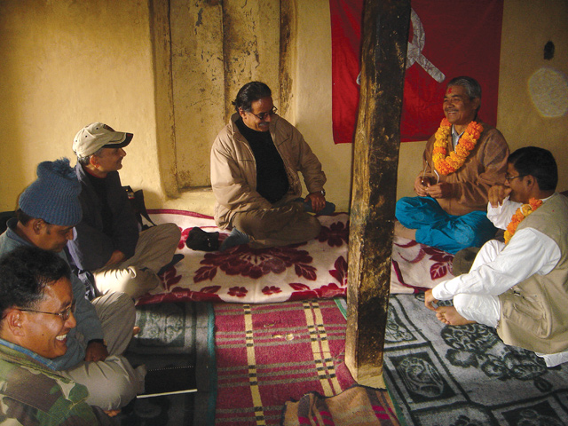 UML leaders Bam Dev Gautam and Yubaraj Gyawali met Prachanda in Rolpa in 2005 to prepare the groundwork for the 12-point agreement signed in New Delhi later that year. Also seen at left is Netra Bikram Chand (Biplab) who split from the party and now wants to continue with the revolution.