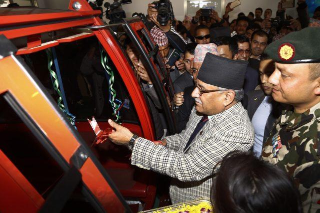 Prime Minister Puspa Kamal Dahal inauguration Chandragiri Cabal car during  officialy launching ceremony at Chandragiri Hill, Kathmandu on Thursday. POST PHOTO/PRAKASH CHANDRA TIMILSENA