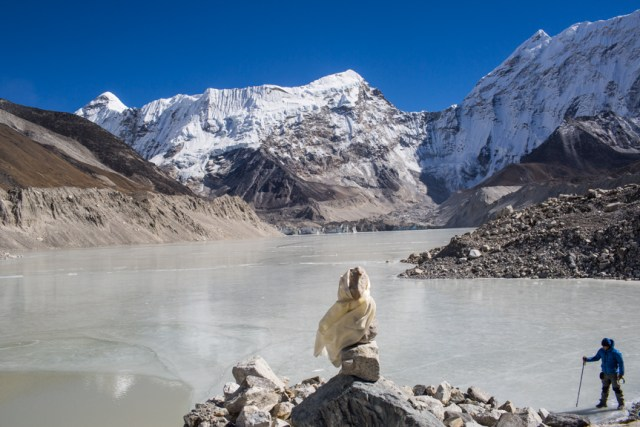 Imja is one of the biggest glacial lakes in the Everest region of Nepal Himalaya at 5,010 meters above sea level. Since 1960 the small lake has increased to 1.28 square kilometres and 150 metres deep.