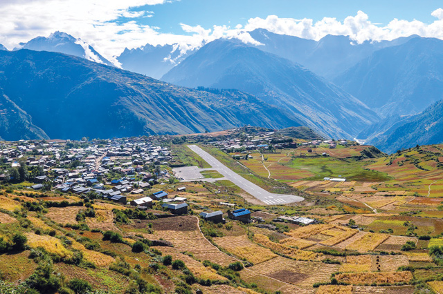The airport town of Simikot is not connected to Nepal's highway network. It is Nepal's highest district capital at 2,900m, and also serves as a gateway for Indian pilgrims to Mt Kailash in Tibet.