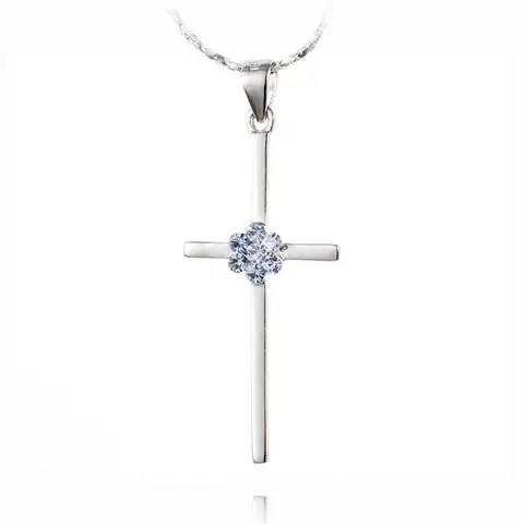 Fashion Elegant Style Flower Embellished Cross Pendant