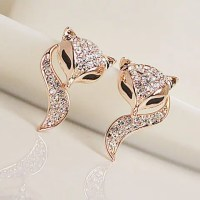 Pair of Stylish Diamante Fox Pattern Stud Earrings For ...