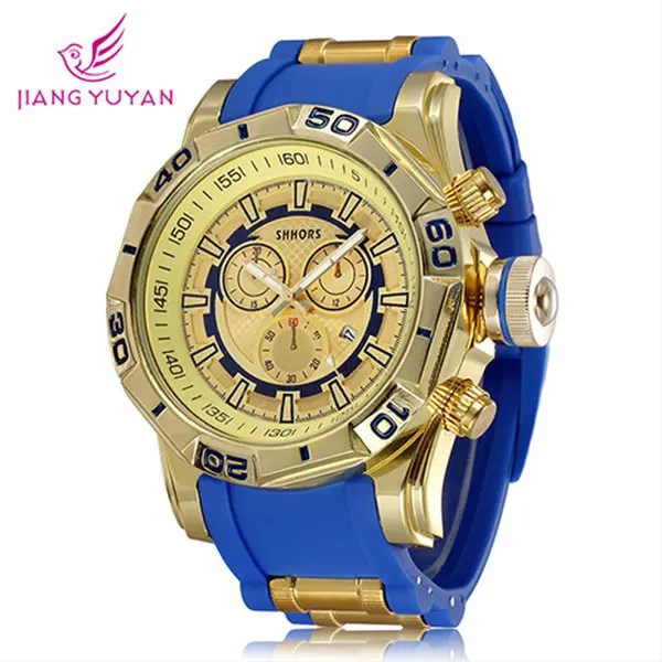 Fashion dial date display rubber band for men blue in men s watches