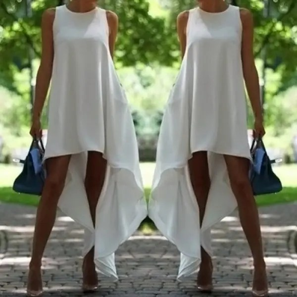 Stylish Round Collar Sleeveless Solid Color Asymmetrical Women's Dress