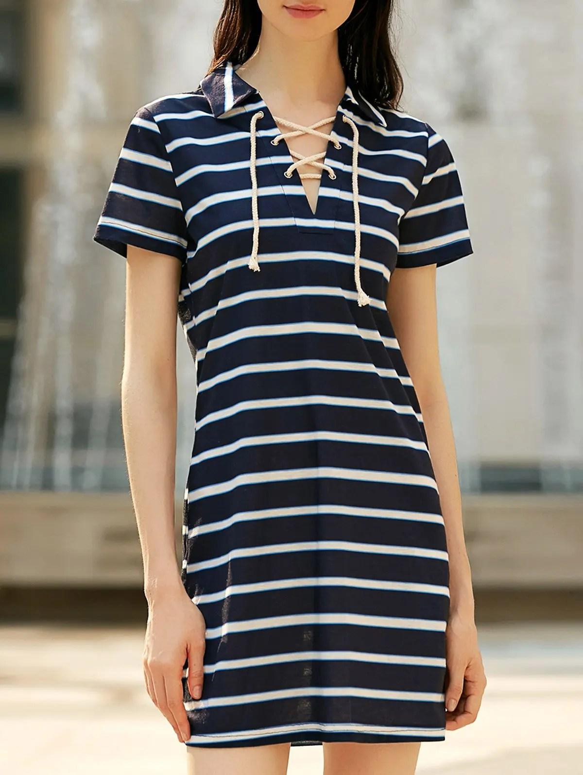 Preppy Style Striped Lace- Short Sleeve Dress Women