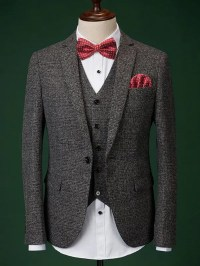 Formal Men's Houndstooth Blazer + Vest + Pants With Bow ...