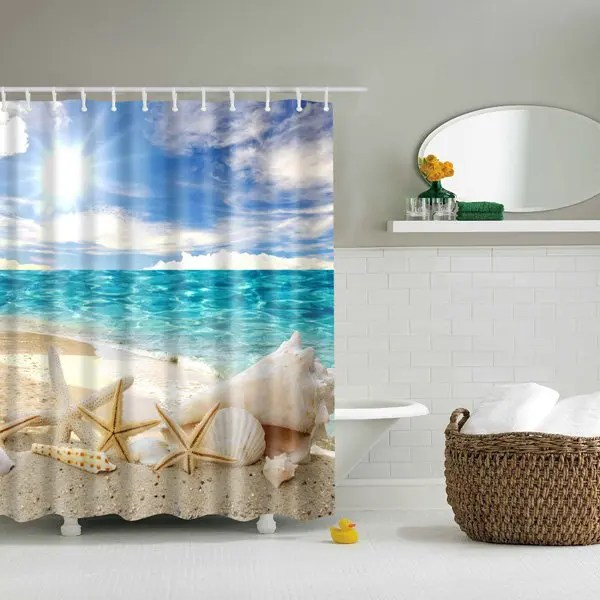 Waterproof Starfish And Shell Print Shower Curtain COLORMIX In