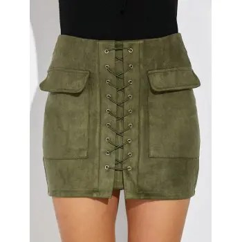 Image result for criss cross faux suede skirt green