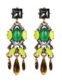 Geometric Fake Emerald Tassel Drop Earrings, YELLOW in ...