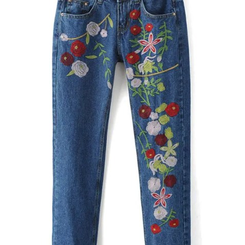 Embroidery Pencil Jeans