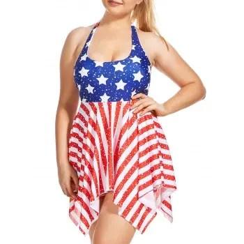 Plus Size Patriotic American Flag Skirted Tankini Set