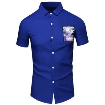 Turn Down Collar Short Sleeve Shirt