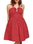 2018 Polka Dot Halter Swing Dress Red Xl In Vintage