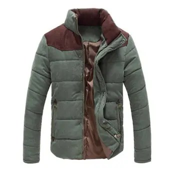 Color Block Zipper Snap Button Stand Collar Padded Coat