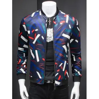 Stand Collar Long Sleeve 3D Geometric Print Jacket