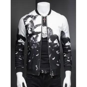 Eagle Print Ribbed Collar Long Sleeve Jacket For Men