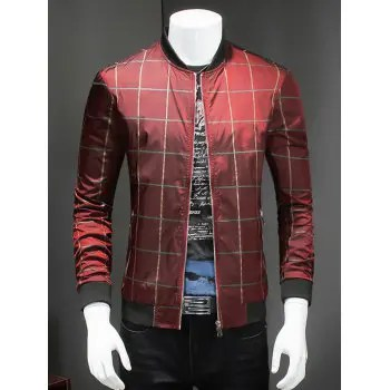 Checked Ribbed Collar Long Sleeve Jacket