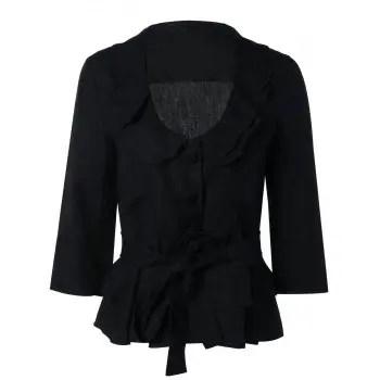 Flounced Belt Tie Buttoned Black Coat