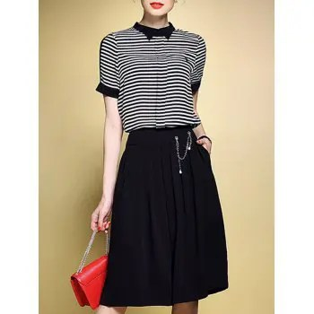 Striped T Shirt and Wide Leg Pants Twinset