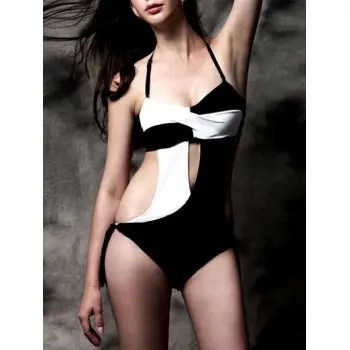 Hit Color Twisted Swimwear For Women