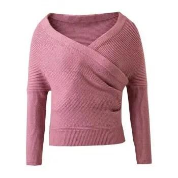 Long Sleeves V Neck Surplice Sweater