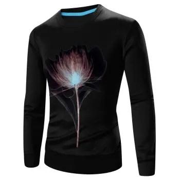 3D Flower Print Crew Neck Sweatshirt