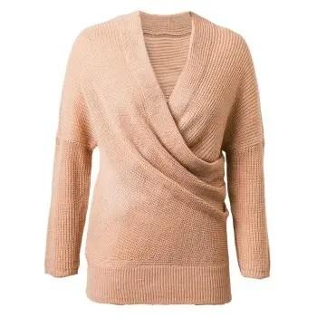 Crossover V Neck Pullover Sweater
