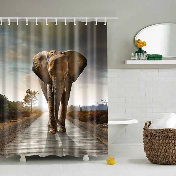 2018 Bathroom Waterproof Elephant Printed Shower Curtain