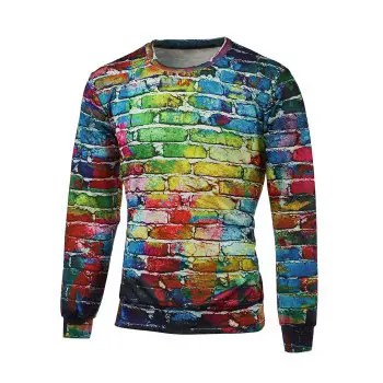 Crew Neck Brick Wall Print Pullover Sweatshirt